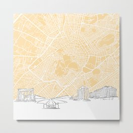 Athens Greece Skyline Map Metal Print