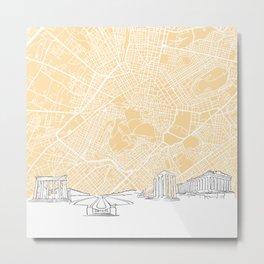 Athens Greece Skyline Map Metal Print