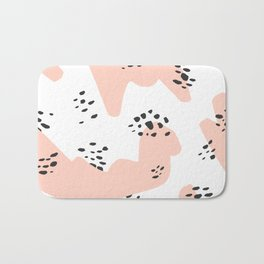 Modern blush pink abstract color block black polka dots illustration pattern Bath Mat