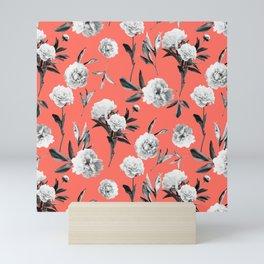 Peonies Mono Coral Mini Art Print