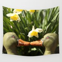 ducks Wall Tapestries featuring Kissy Ducks by jena ardell
