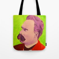 nietzsche Tote Bags featuring Colorful Nietzsche by TheMessianicManic