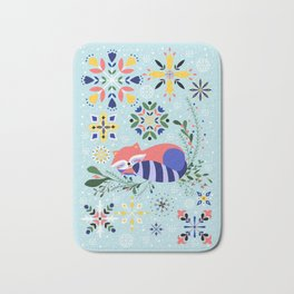 Happy Raccoon Card Bath Mat