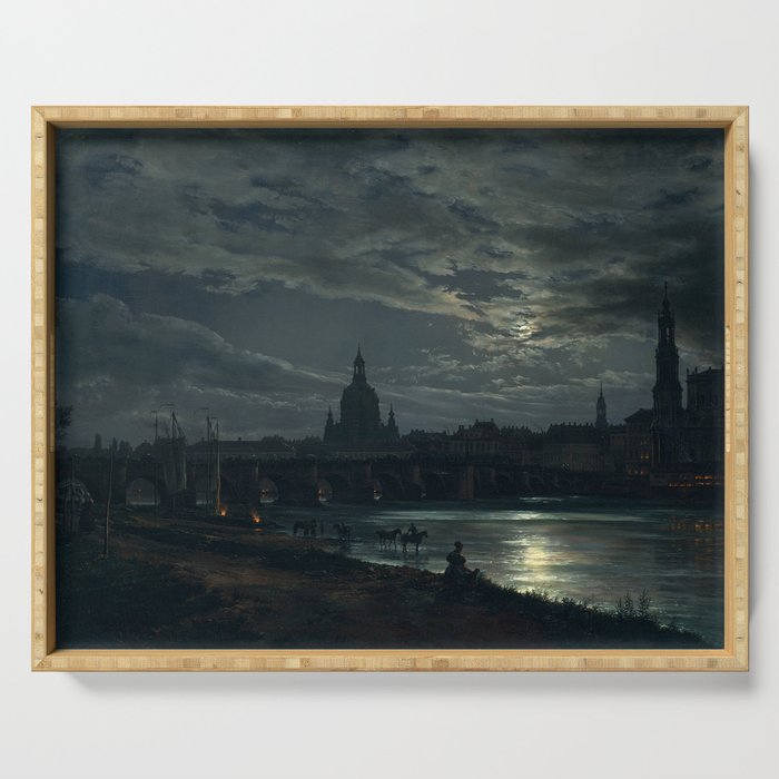 View of Dresden by Moonlight, Johan Christian Dahl, 1839 Serving Tray