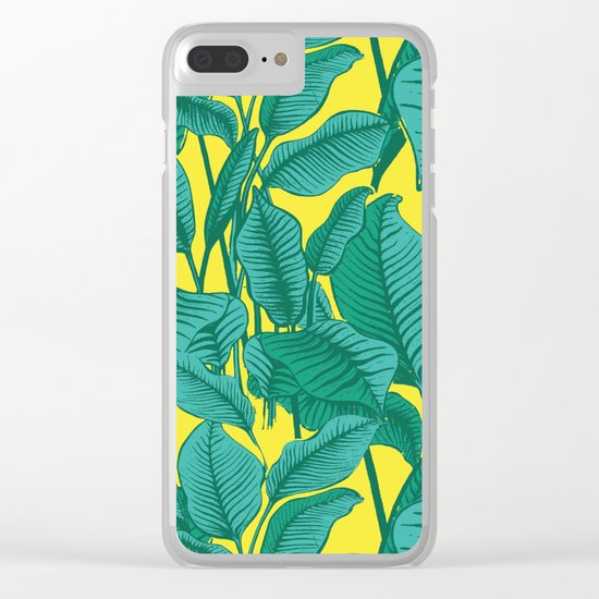 Exotic Tropical Palm Leaf Print - Lime Clear iPhone Case