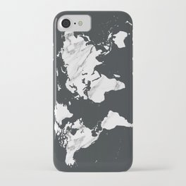 Marble World Map in Black and White iPhone Case