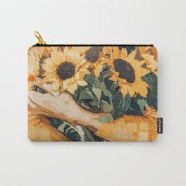 Holding Sunflowers #society6 #illustration #nature #painting Carry-All Pouch