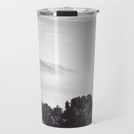 Beautiful ocean view with forest front view at Big Sur, California, USA in black and white Travel Mug