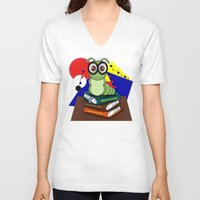 bookworm V-neck T-shirts featuring Bookworm 2 by Charles Oliver