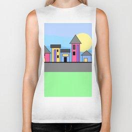 Pastel Daytime Houses Biker Tank