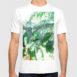 The wild shadow tropical palm tree green bright photography T-shirt