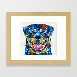 Colorful Rottie Art - Rottweiler by Sharon Cummings Framed Art Print