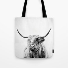 portrait of a highland cow - vertical orientation Tote Bag