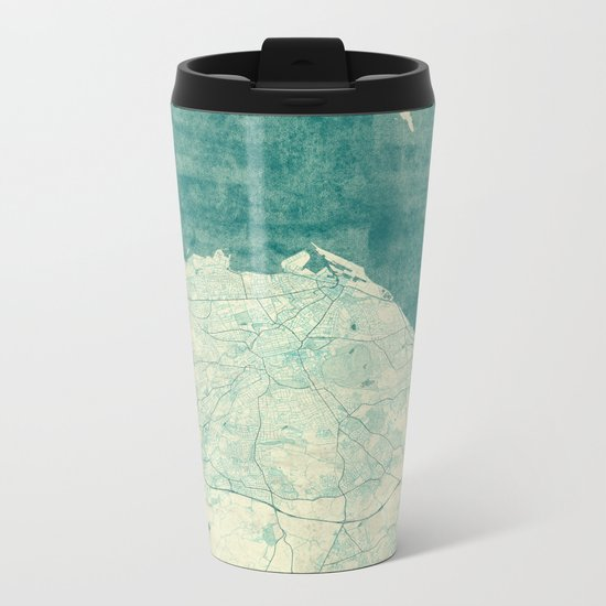 Edinburgh Map Blue Vintage Metal Travel Mug