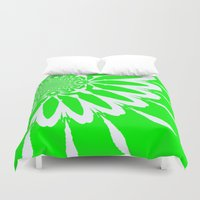 lime green Duvet Covers featuring Lime Green Modern Flower by 2sweet4words Designs