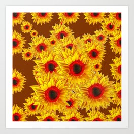 Coffee Brown & Red Centered Yellow Sunflowers Art Print