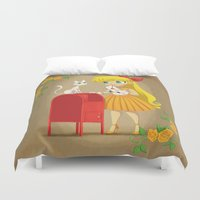 sailor venus Duvet Covers featuring Retro Sailor Venus by Crimson Pumpkin