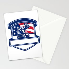 Forestry Cutter USA Flag Badge Stationery Cards