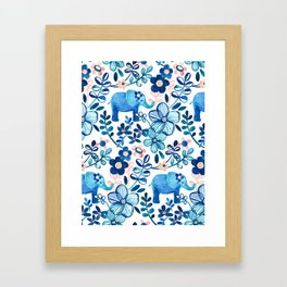 Blush Pink, White and Blue Elephant and Floral Watercolor Pattern Framed Art Print