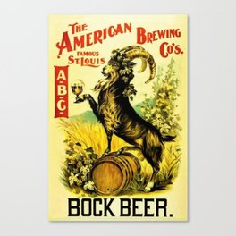Vintage American Brewing Co's Famous St. Louis ABC Bock Beer Lithograph Wall Art Canvas Print