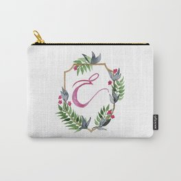 Jungle Gold Monogram Crest E Carry-All Pouch