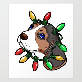 Beagle Christmas Lights Present Gift Art Print