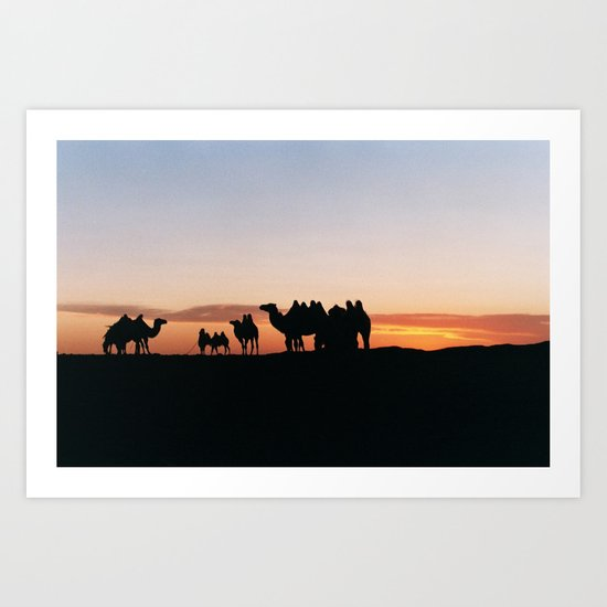Camels at Sundown Art Print