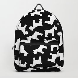 White Schnauzers - Simple Dog Silhouettes Pattern Backpack