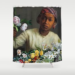 Classical Masterpiece  Young Woman with Peonies by Frederic Bazille Shower Curtain