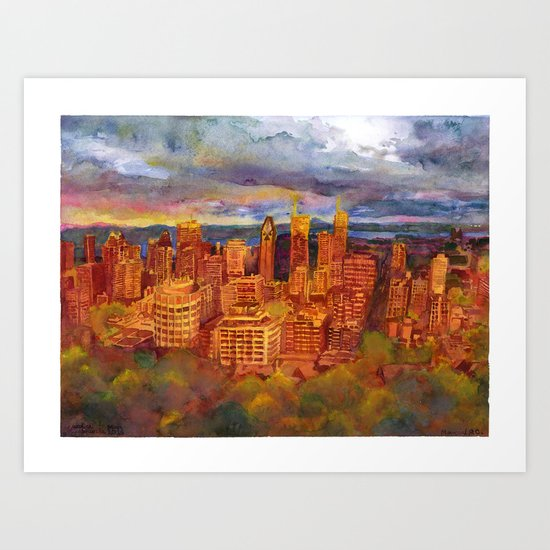 Montreal from Mont Royal during Sunset Art Print