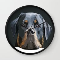 rottweiler Wall Clocks featuring Rottweiler Portrait Vector by taiche