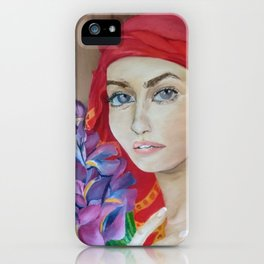 The Girl with Irises iPhone Case