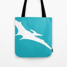 Pterodactyl Dinosaur Turquoise Blue Tote Bag