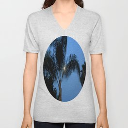 Moonlight through the Palms, Southern California Unisex V-Neck