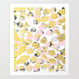 Stellan - Rose Marble Gold abstract art painting modern minimal love rosequartz pastel pink dorm Art Print