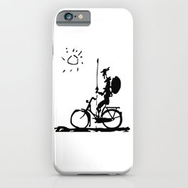 Don Quixote Riding Bike, Sketch Line Parody 1955 T Shirt iPhone Case