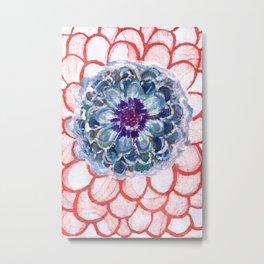 Centered Blue Blossom Metal Print