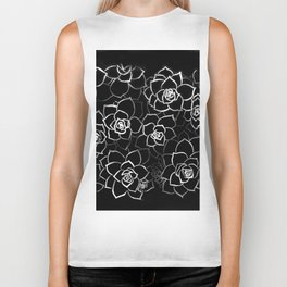 White ink. graphic with white ink and black cardboard. flowers Biker Tank