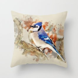 Watercolor Blue Jay Art Throw Pillow
