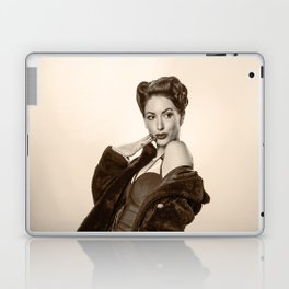 """Show a Little Shoulder"" - The Playful Pinup - Vintage Pin-up Girl in Coat by Maxwell H. Johnson Laptop & iPad Skin"