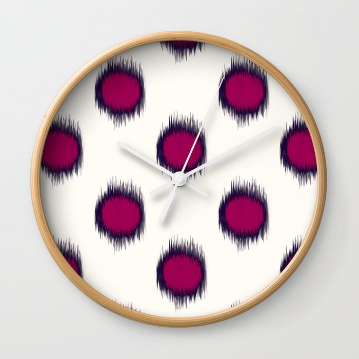 Ikat Dots Raspberry Plum Wall Clock