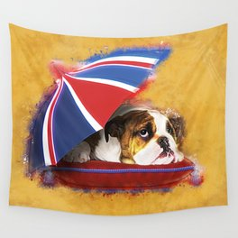 English Bulldog Puppy with umbrella Wall Tapestry