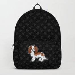 Cute Blenheim Cavalier King Charles Spaniel Dog Cartoon Illustration Backpack