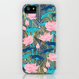 Art Deco Lotus Flowers in Pink & Navy iPhone Case