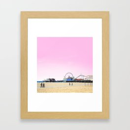 Santa Monica Pier with Ferries Wheel and Roller Coaster Against a Pink Sky Framed Art Print