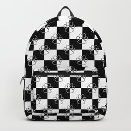 Black and White Checker Dog Paws Backpack