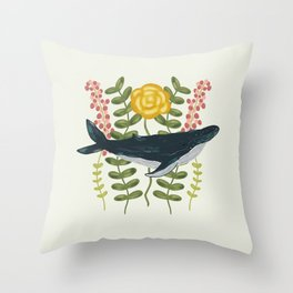 Whale in a Sea of Flowers Throw Pillow