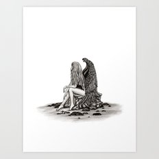 Angel , lost in thought Art Print