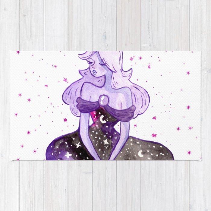 Space purple girl Rug