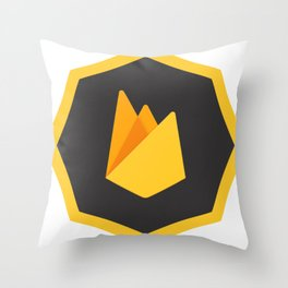 firebase Logo yellow dark grey no sql database developer Throw Pillow